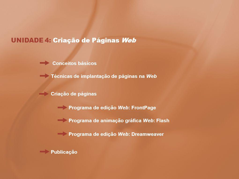 UNIDADE 4: Criação de Páginas Web Técnicas de implantação de páginas na Web Criação de páginas Programa de edição Web: FrontPage Conceitos básicos Pro