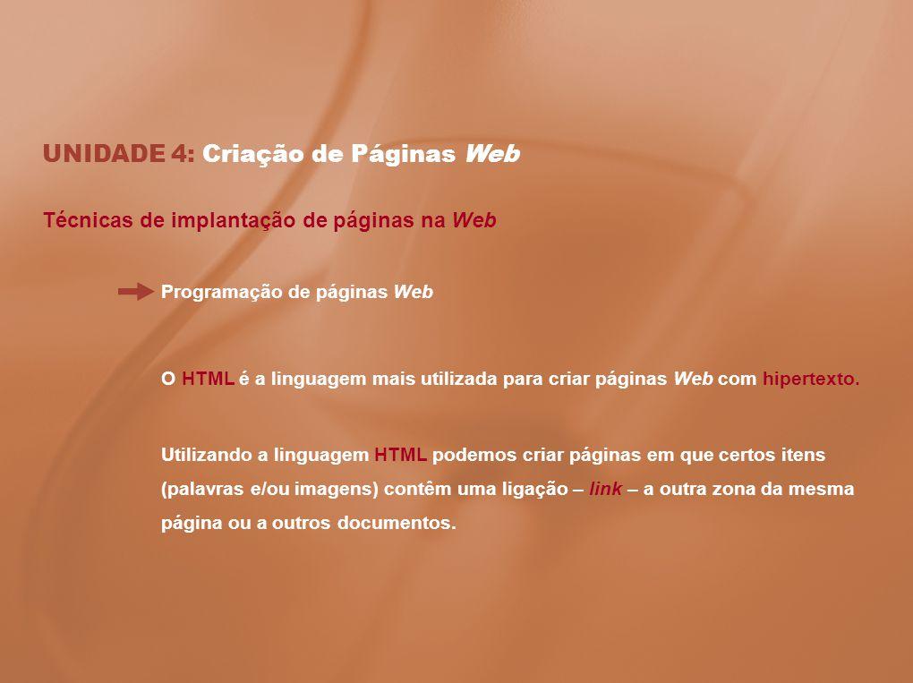 UNIDADE 4: Criação de Páginas Web Técnicas de implantação de páginas na Web Programação de páginas Web O HTML é a linguagem mais utilizada para criar