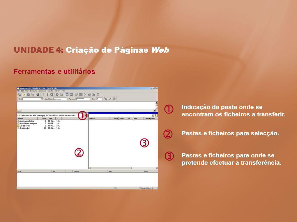 UNIDADE 4: Criação de Páginas Web Ferramentas e utilitários Indicação da pasta onde se encontram os ficheiros a transferir. Pastas e ficheiros para se
