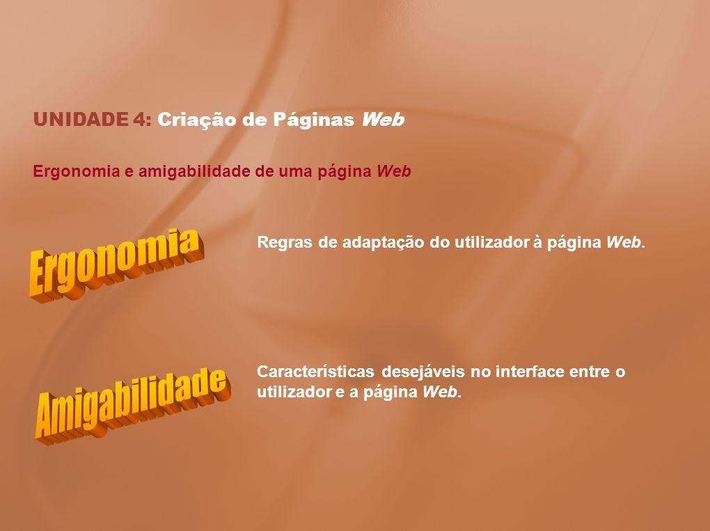 Ergonomia e amigabilidade de uma página Web UNIDADE 4: Criação de Páginas Web Regras de adaptação do utilizador à página Web. Características desejáve