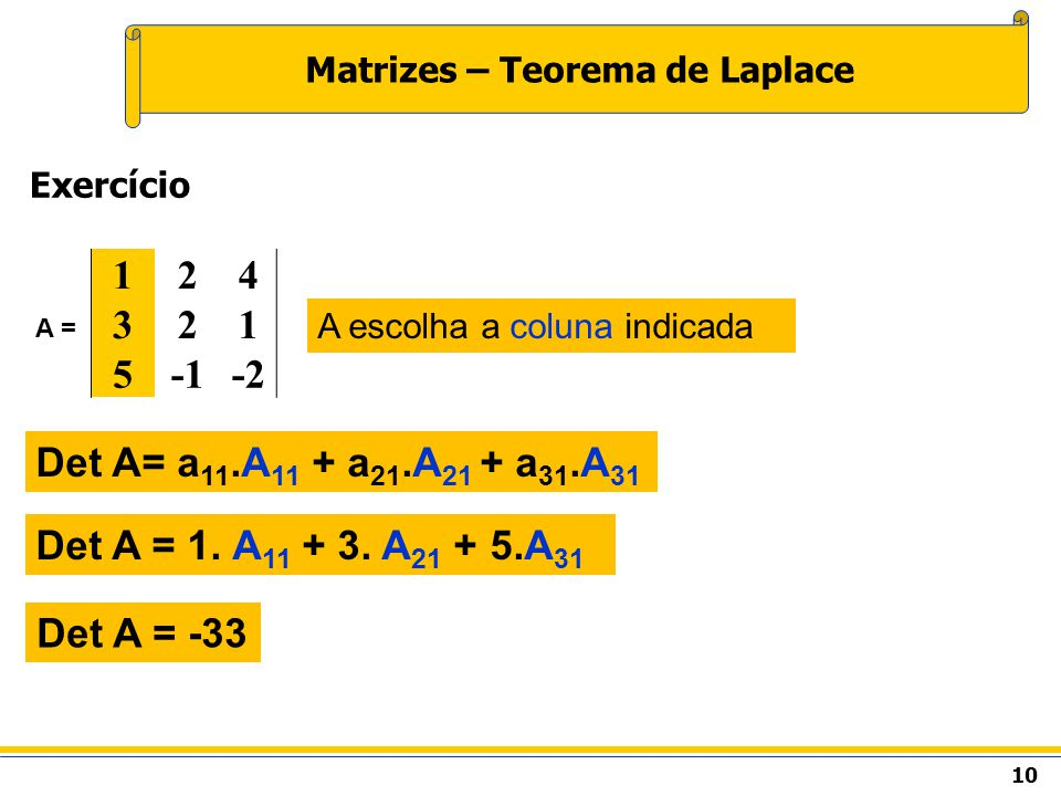 10 Matrizes – Teorema de Laplace Exercício Det A= a 11.A 11 + a 21.A 21 + a 31.A 31 Det A = 1.