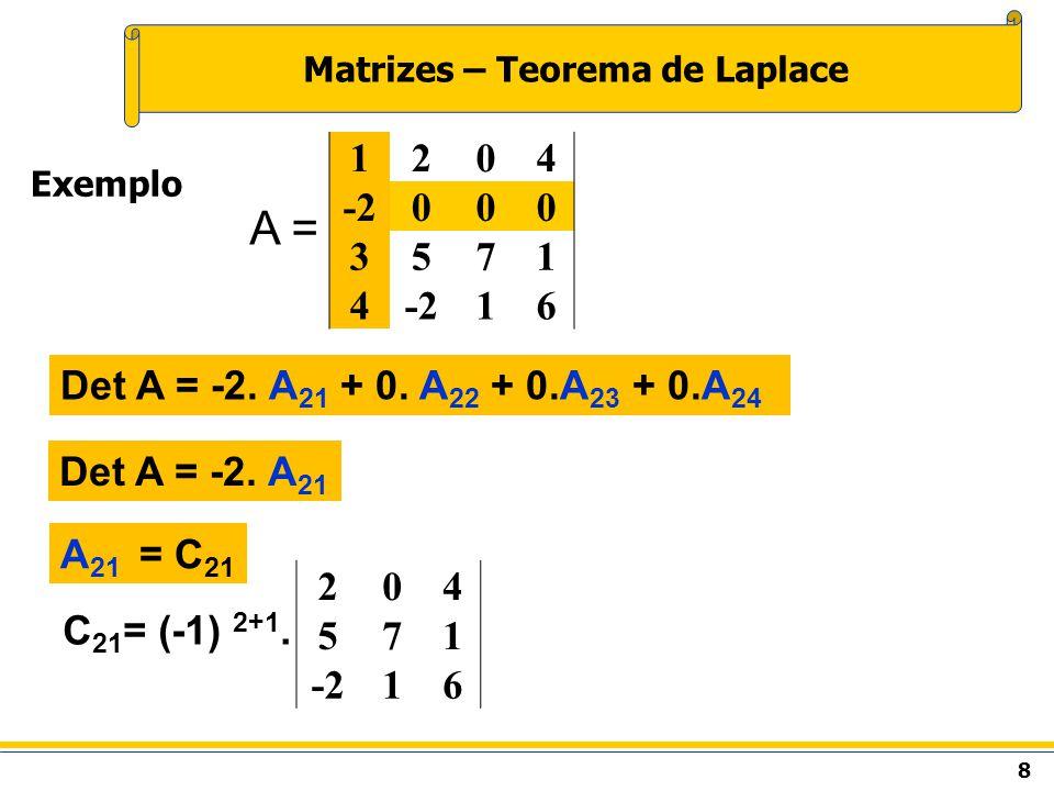 8 Matrizes – Teorema de Laplace Exemplo A = Det A = -2.