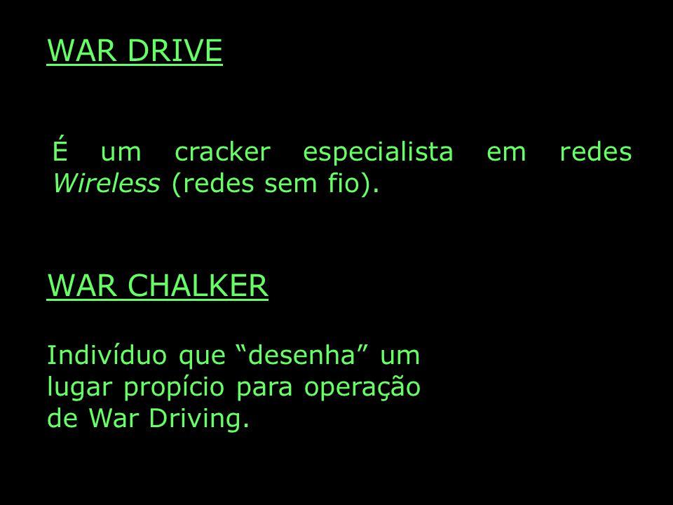 WAR DRIVE É um cracker especialista em redes Wireless (redes sem fio). WAR CHALKER Indivíduo que desenha um lugar propício para operação de War Drivin