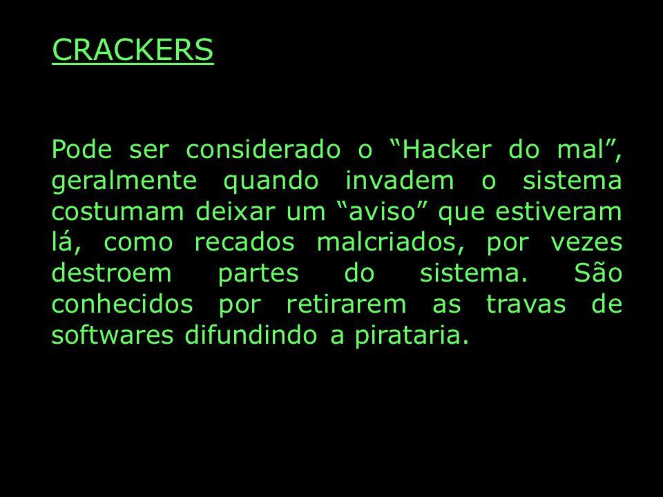 CRACKERS Pode ser considerado o Hacker do mal, geralmente quando invadem o sistema costumam deixar um aviso que estiveram lá, como recados malcriados, por vezes destroem partes do sistema.