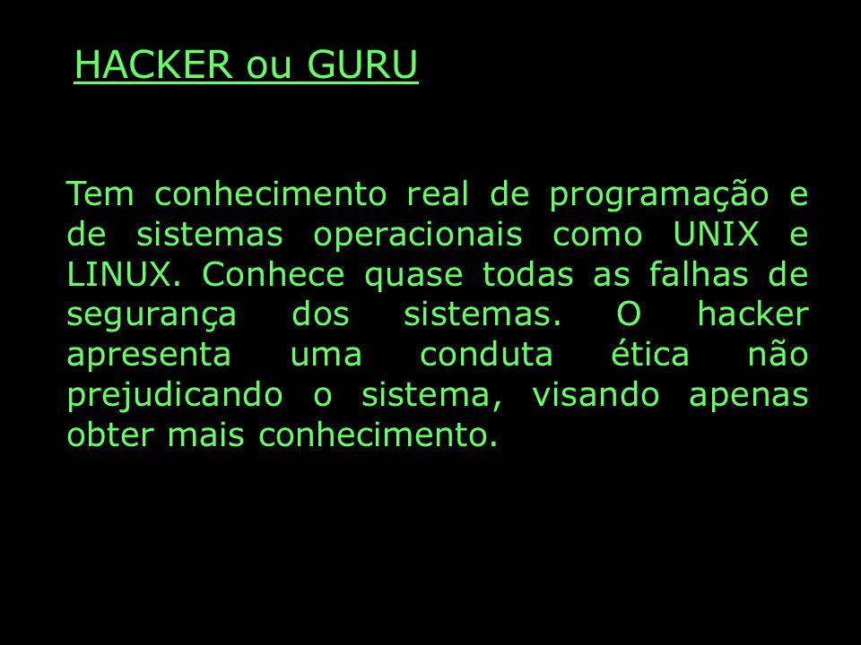 HACKER ou GURU Tem conhecimento real de programação e de sistemas operacionais como UNIX e LINUX. Conhece quase todas as falhas de segurança dos siste