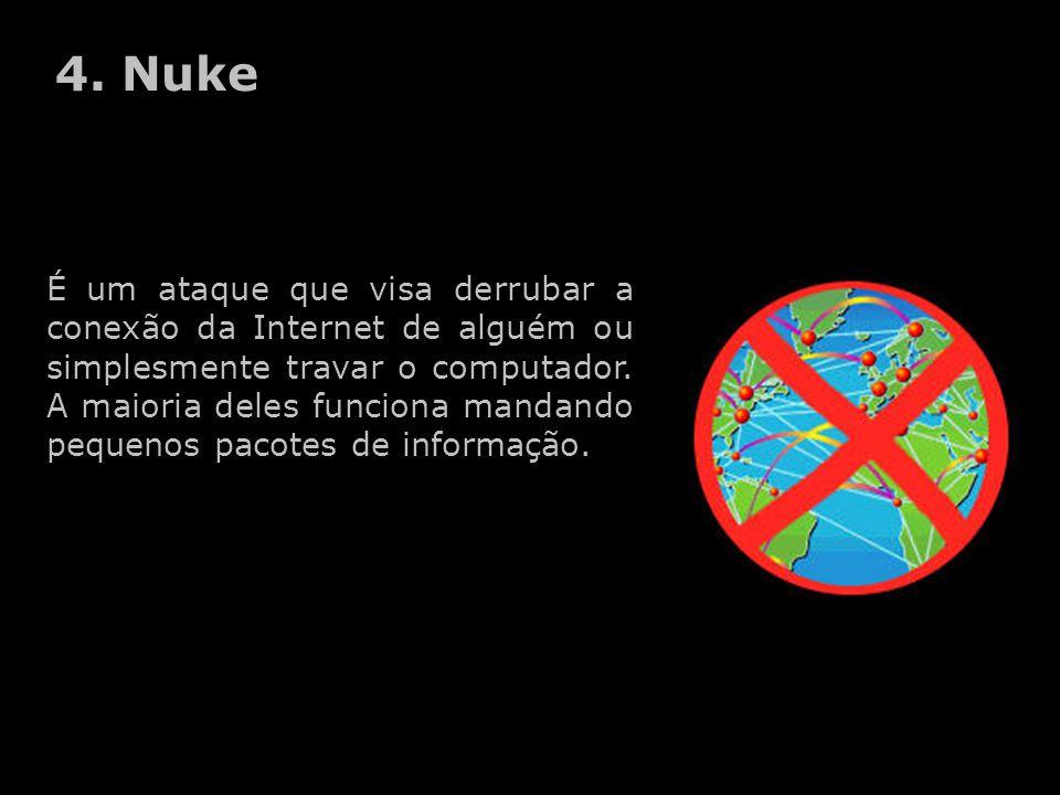 É um ataque que visa derrubar a conexão da Internet de alguém ou simplesmente travar o computador.
