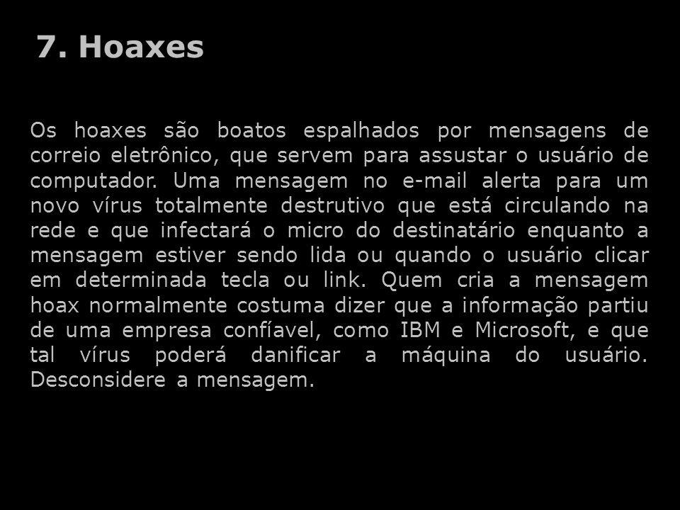 Os hoaxes são boatos espalhados por mensagens de correio eletrônico, que servem para assustar o usuário de computador. Uma mensagem no e-mail alerta p
