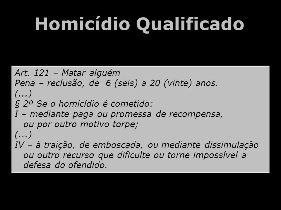 Art. 121 – Matar alguém Pena – reclusão, de 6 (seis) a 20 (vinte) anos. (...) § 2º Se o homicídio é cometido: I – mediante paga ou promessa de recompe