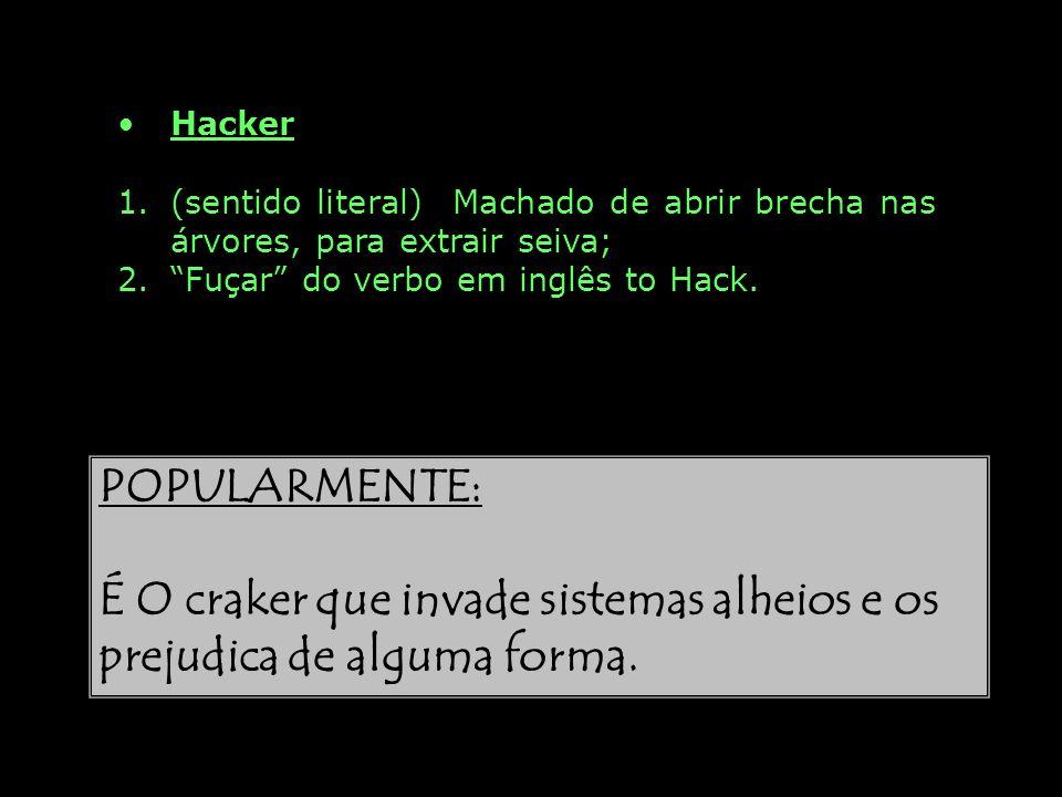 Hacker 1. 1.(sentido literal) Machado de abrir brecha nas árvores, para extrair seiva; 2. 2.Fuçar do verbo em inglês to Hack. POPULARMENTE: É O craker