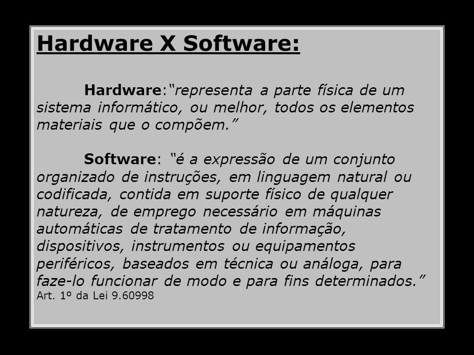 Hardware X Software: Hardware:representa a parte física de um sistema informático, ou melhor, todos os elementos materiais que o compõem. Software: é