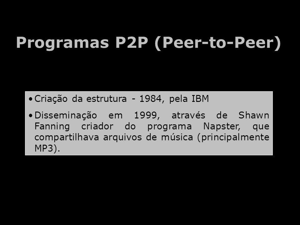 Programas P2P (Peer-to-Peer) Criação da estrutura - 1984, pela IBM Disseminação em 1999, através de Shawn Fanning criador do programa Napster, que compartilhava arquivos de música (principalmente MP3).