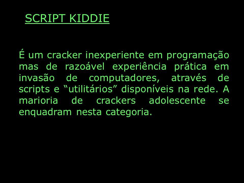 SCRIPT KIDDIE É um cracker inexperiente em programação mas de razoável experiência prática em invasão de computadores, através de scripts e utilitário