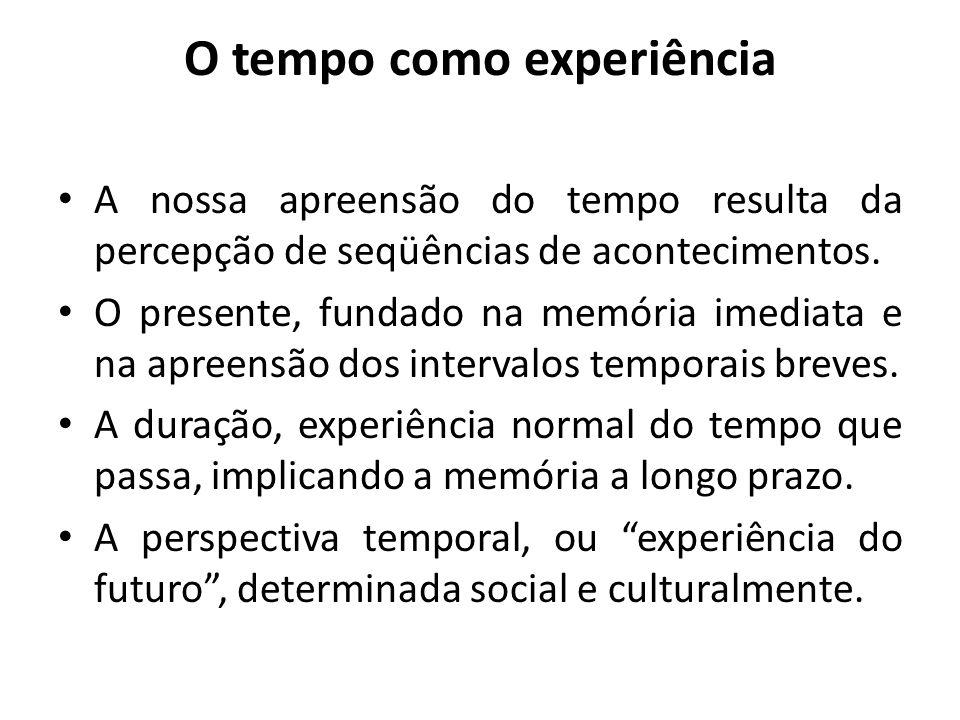 O tempo como experiência A nossa apreensão do tempo resulta da percepção de seqüências de acontecimentos. O presente, fundado na memória imediata e na