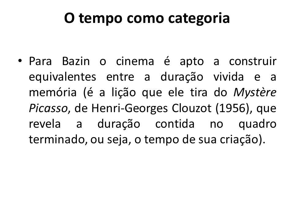 O tempo como categoria Para Bazin o cinema é apto a construir equivalentes entre a duração vivida e a memória (é a lição que ele tira do Mystère Picas