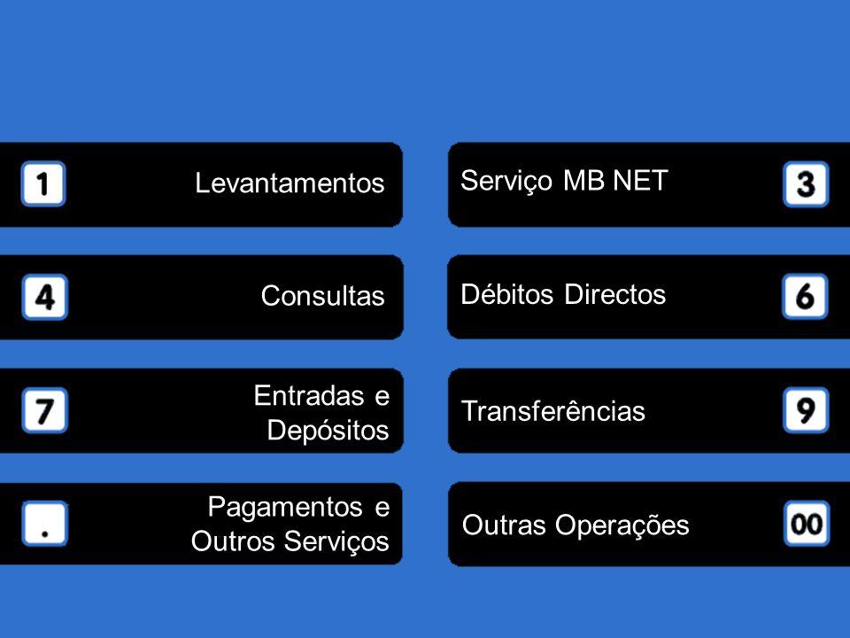 Pagamentos e Outros Serviços Outras Operações Entradas e Depósitos Transferências Consultas Débitos Directos Serviço MB NET Levantamentos