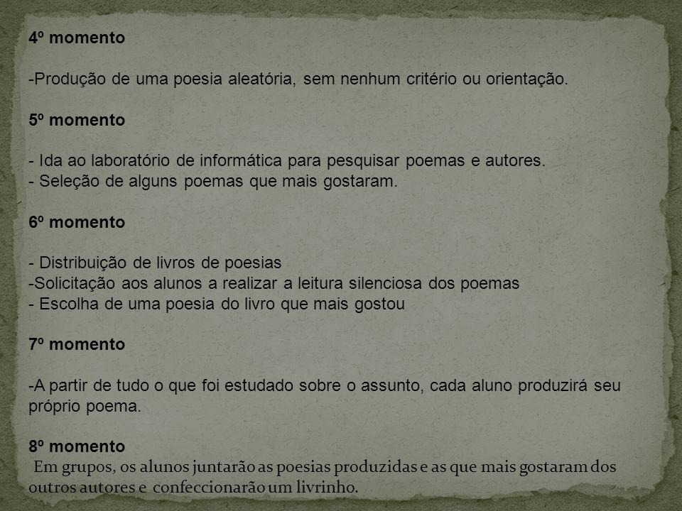 4º momento -Produção de uma poesia aleatória, sem nenhum critério ou orientação. 5º momento - Ida ao laboratório de informática para pesquisar poemas