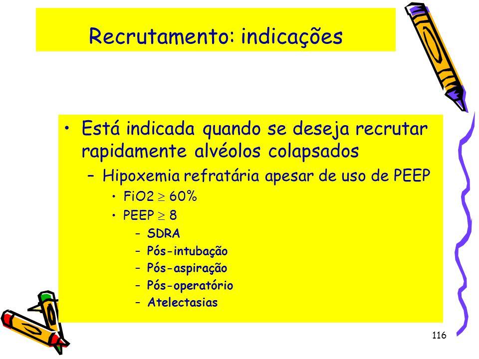 Recrutamento: indicações Está indicada quando se deseja recrutar rapidamente alvéolos colapsados –Hipoxemia refratária apesar de uso de PEEP FiO2 60%