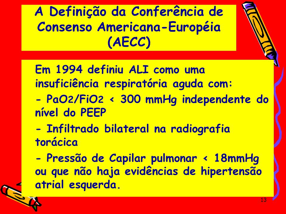 A Definição da Conferência de Consenso Americana-Européia (AECC) Em 1994 definiu ALI como uma insuficiência respiratória aguda com: - PaO 2 /FiO 2 < 3