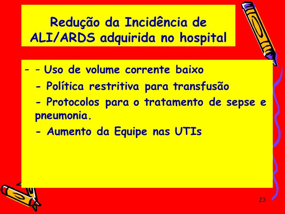 Redução da Incidência de ALI/ARDS adquirida no hospital -- Uso de volume corrente baixo - Política restritiva para transfusão - Protocolos para o trat
