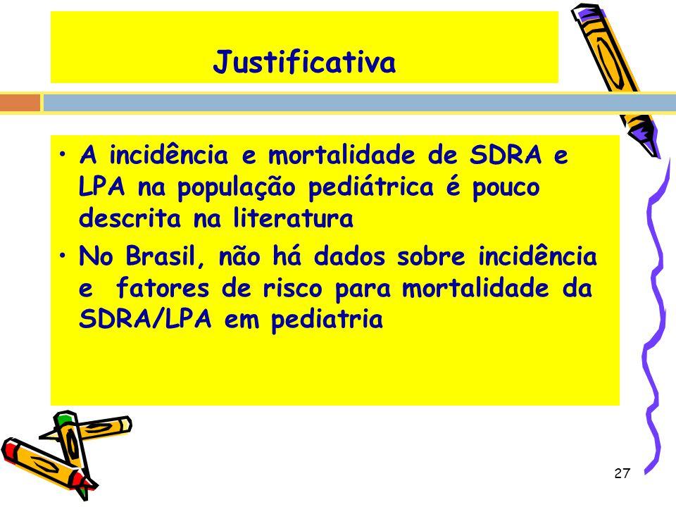 Justificativa A incidência e mortalidade de SDRA e LPA na população pediátrica é pouco descrita na literatura No Brasil, não há dados sobre incidência