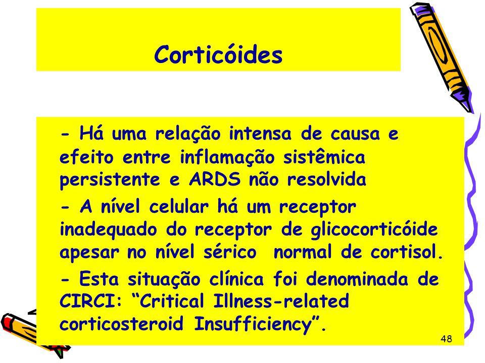 Corticóides - Há uma relação intensa de causa e efeito entre inflamação sistêmica persistente e ARDS não resolvida - A nível celular há um receptor in