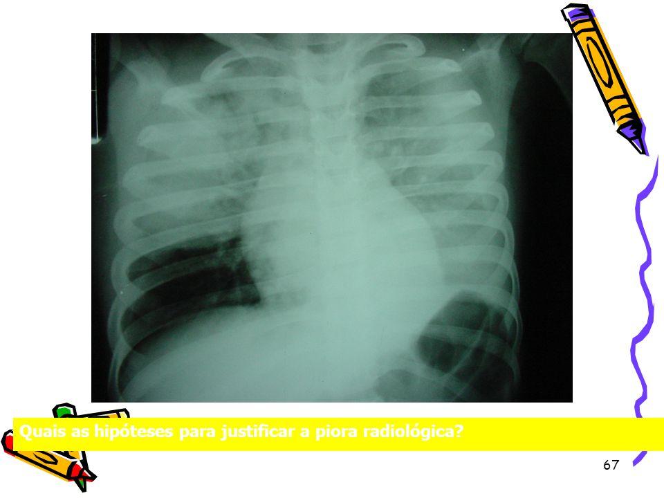 Quais as hipóteses para justificar a piora radiológica? 67