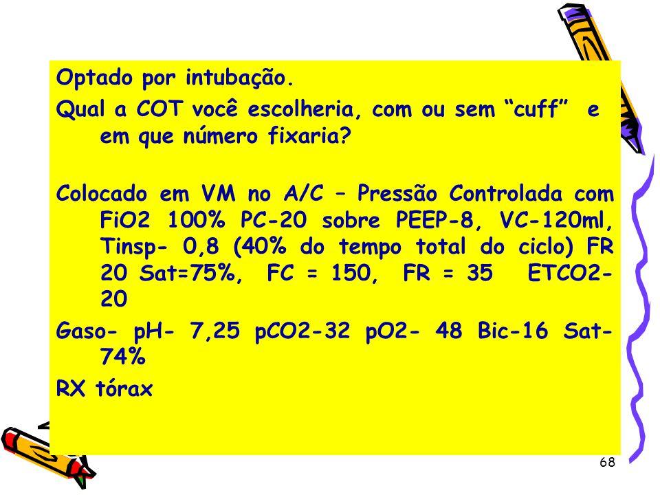 Optado por intubação. Qual a COT você escolheria, com ou sem cuff e em que número fixaria? Colocado em VM no A/C – Pressão Controlada com FiO2 100% PC