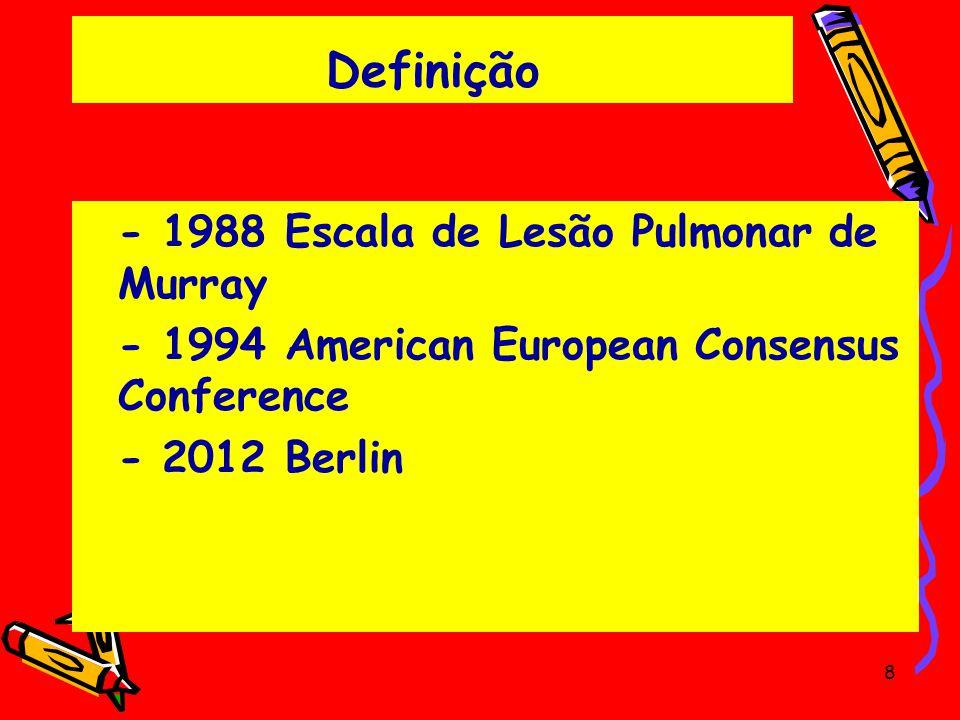 Definição - 1988 Escala de Lesão Pulmonar de Murray - 1994 American European Consensus Conference - 2012 Berlin 8