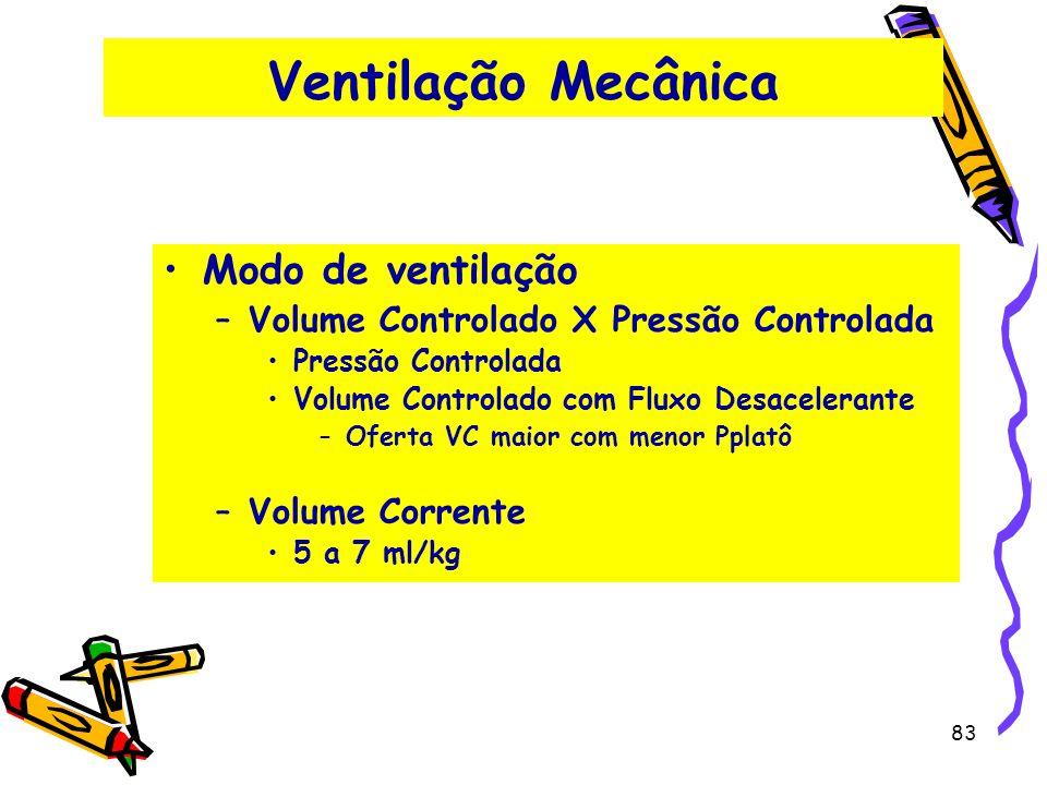 Ventilação Mecânica Modo de ventilação –Volume Controlado X Pressão Controlada Pressão Controlada Volume Controlado com Fluxo Desacelerante –Oferta VC