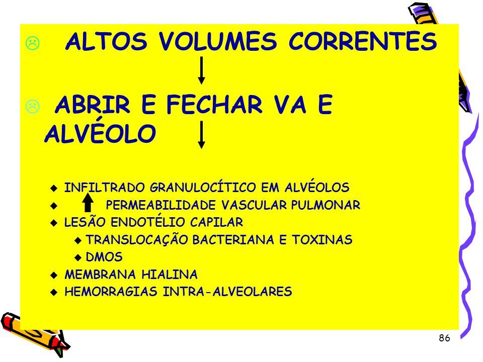 ALTOS VOLUMES CORRENTES ABRIR E FECHAR VA E ALVÉOLO u INFILTRADO GRANULOCÍTICO EM ALVÉOLOS u PERMEABILIDADE VASCULAR PULMONAR u LESÃO ENDOTÉLIO CAPILA