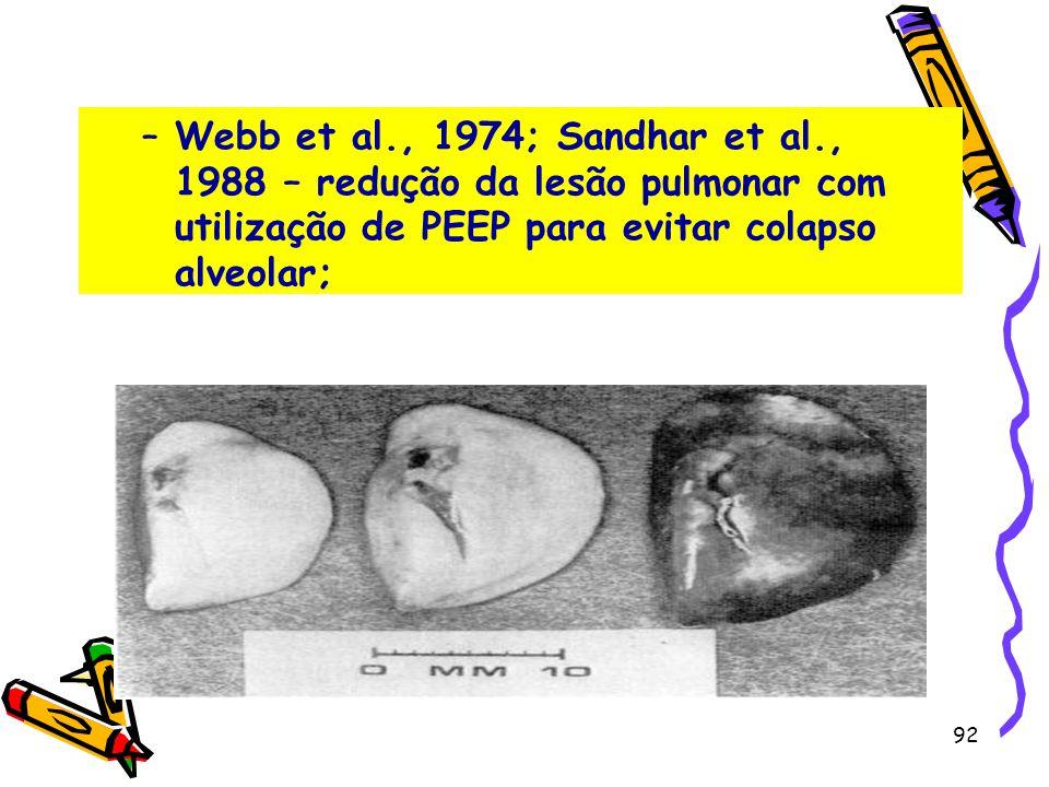 –Webb et al., 1974; Sandhar et al., 1988 – redução da lesão pulmonar com utilização de PEEP para evitar colapso alveolar; 92