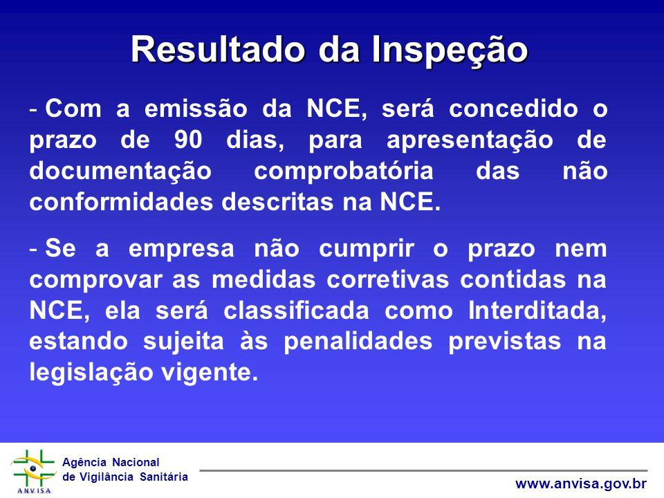 Agência Nacional de Vigilância Sanitária www.anvisa.gov.br Resultado da Inspeção - Com a emissão da NCE, será concedido o prazo de 90 dias, para apres