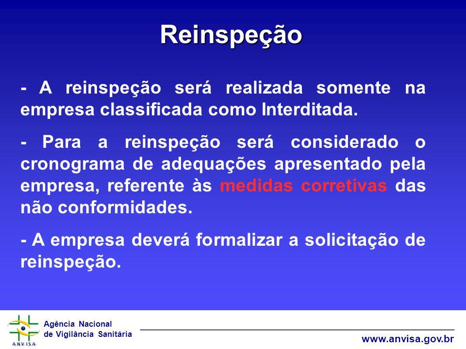 Agência Nacional de Vigilância Sanitária www.anvisa.gov.br Reinspeção - A reinspeção será realizada somente na empresa classificada como Interditada.