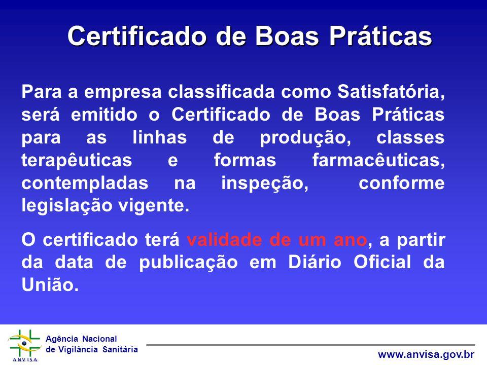 Agência Nacional de Vigilância Sanitária www.anvisa.gov.br Certificado de Boas Práticas Para a empresa classificada como Satisfatória, será emitido o