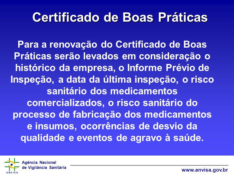 Agência Nacional de Vigilância Sanitária www.anvisa.gov.br Certificado de Boas Práticas Para a renovação do Certificado de Boas Práticas serão levados
