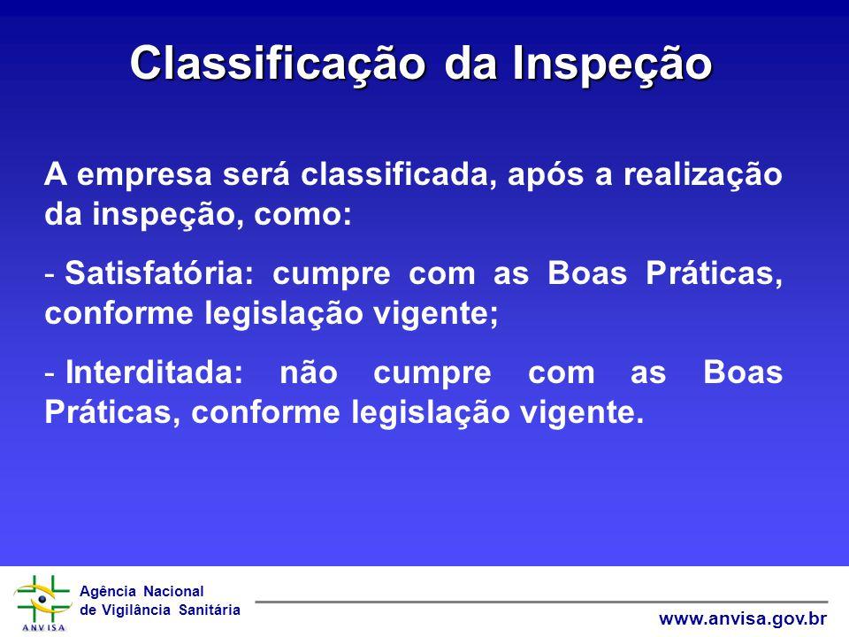 Agência Nacional de Vigilância Sanitária www.anvisa.gov.br Classificação da Inspeção A empresa será classificada, após a realização da inspeção, como: