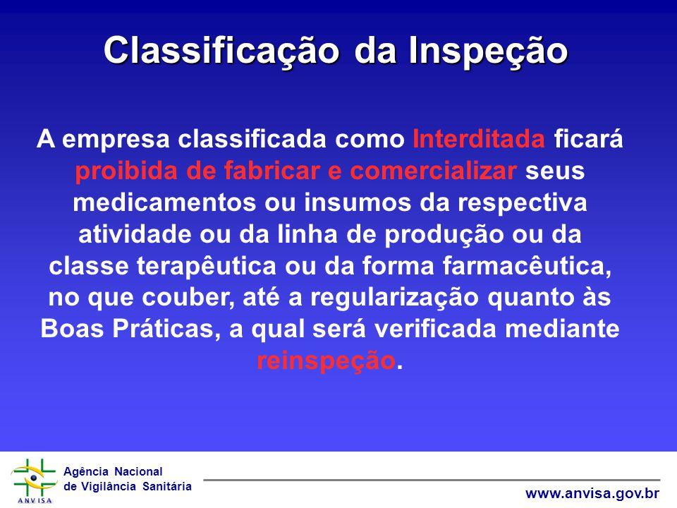 Agência Nacional de Vigilância Sanitária www.anvisa.gov.br Classificação da Inspeção A empresa classificada como Interditada ficará proibida de fabric