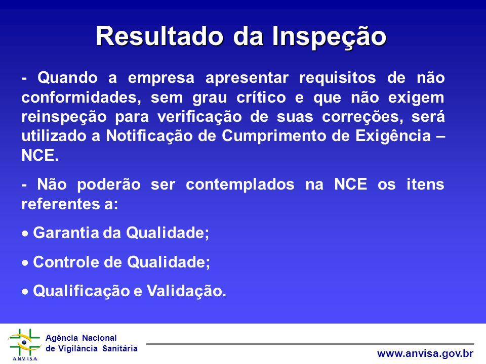 Agência Nacional de Vigilância Sanitária www.anvisa.gov.br Resultado da Inspeção - Com a emissão da NCE, será concedido o prazo de 90 dias, para apresentação de documentação comprobatória das não conformidades descritas na NCE.