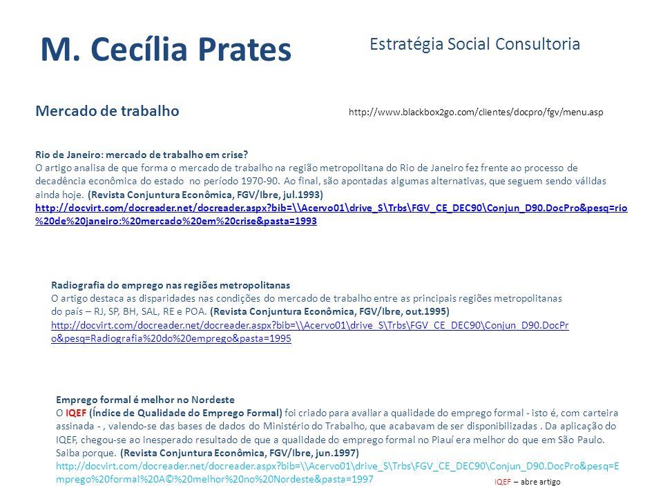 M. Cecília Prates Estratégia Social Consultoria Mercado de trabalho http://www.blackbox2go.com/clientes/docpro/fgv/menu.asp Rio de Janeiro: mercado de