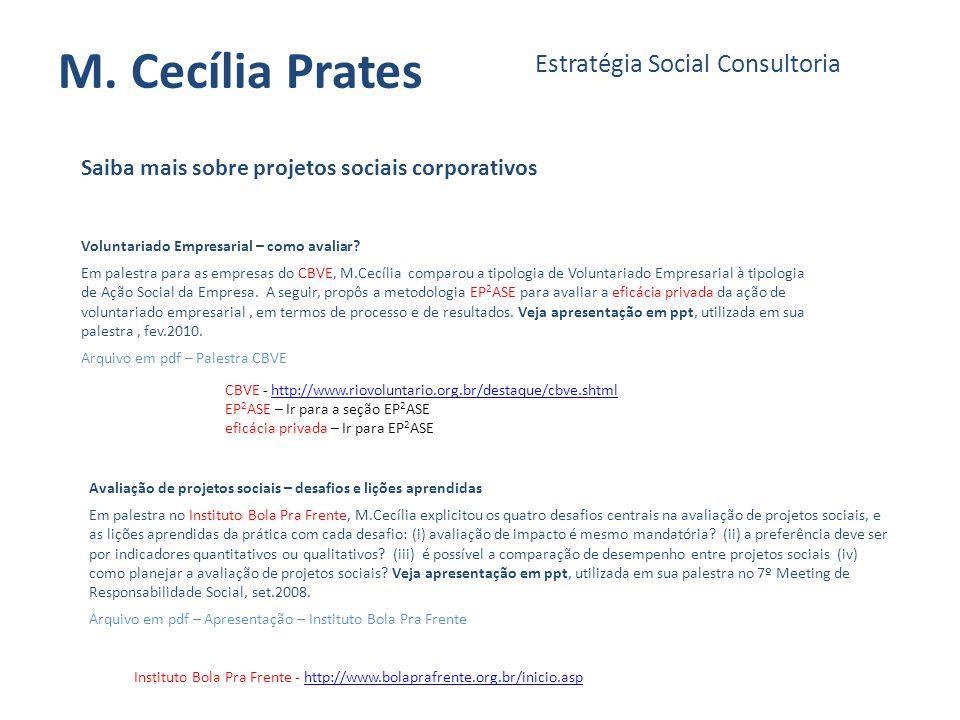 M. Cecília Prates Estratégia Social Consultoria Saiba mais sobre projetos sociais corporativos Voluntariado Empresarial – como avaliar? Em palestra pa