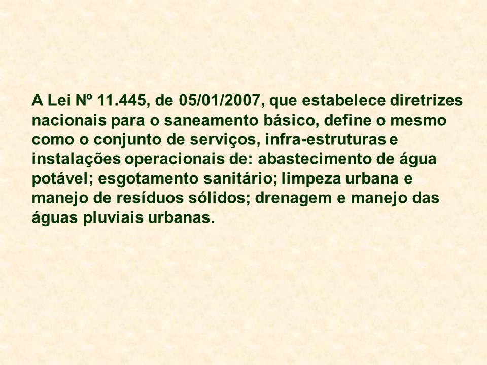A Lei Nº 11.445, de 05/01/2007, que estabelece diretrizes nacionais para o saneamento básico, define o mesmo como o conjunto de serviços, infra-estruturas e instalações operacionais de: abastecimento de água potável; esgotamento sanitário; limpeza urbana e manejo de resíduos sólidos; drenagem e manejo das águas pluviais urbanas.