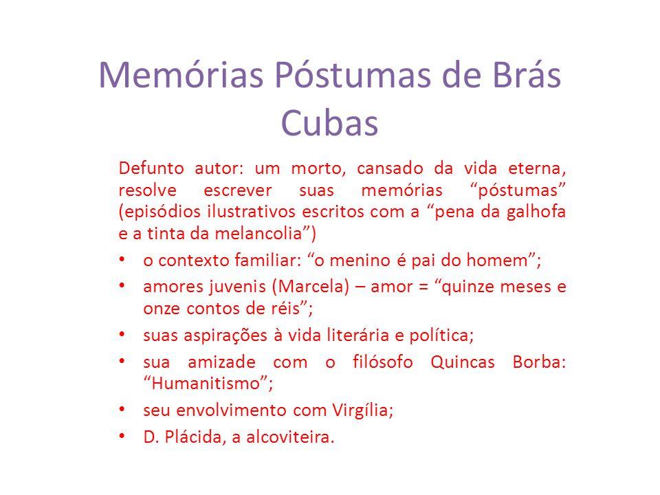 Memórias Póstumas de Brás Cubas Defunto autor: um morto, cansado da vida eterna, resolve escrever suas memórias póstumas (episódios ilustrativos escri