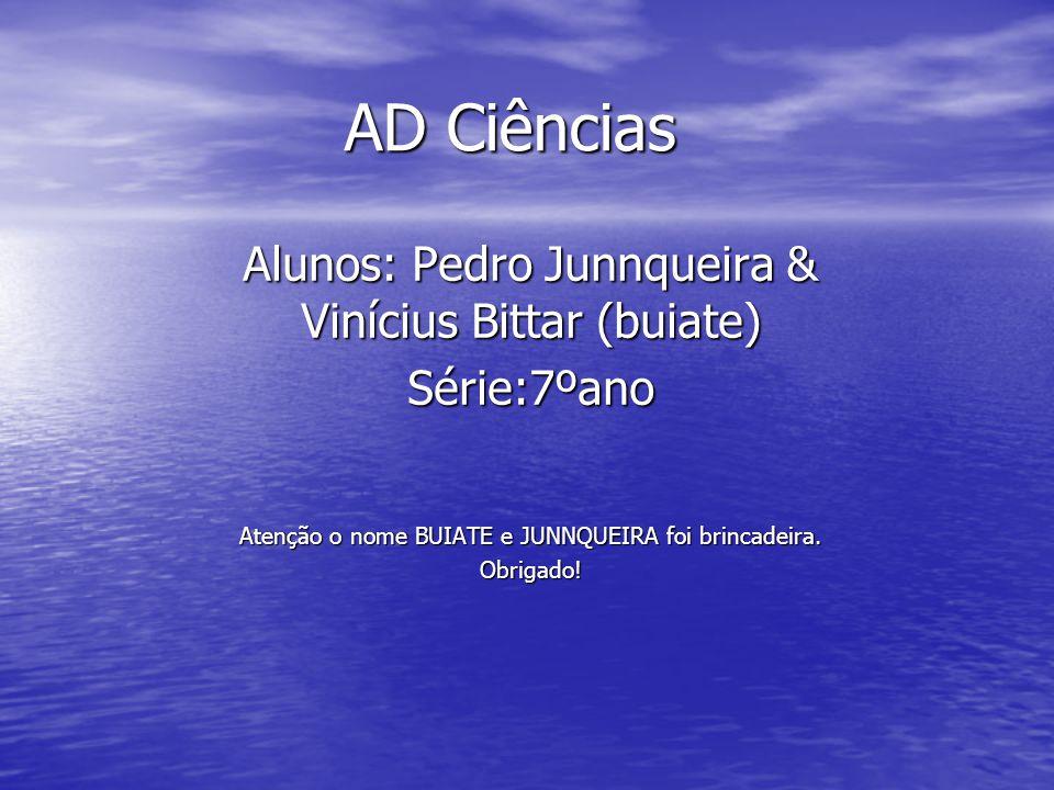 AD Ciências Alunos: Pedro Junnqueira & Vinícius Bittar (buiate) Série:7ºano Atenção o nome BUIATE e JUNNQUEIRA foi brincadeira.