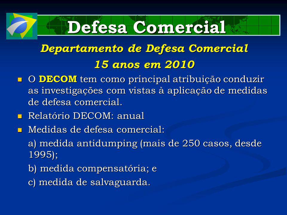 Defesa Comercial Defesa Comercial Departamento de Defesa Comercial 15 anos em 2010 O DECOM tem como principal atribuição conduzir as investigações com vistas à aplicação de medidas de defesa comercial.