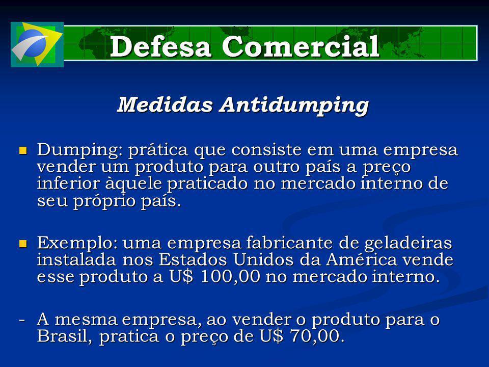 Defesa Comercial Medidas Antidumping Dumping: prática que consiste em uma empresa vender um produto para outro país a preço inferior àquele praticado no mercado interno de seu próprio país.