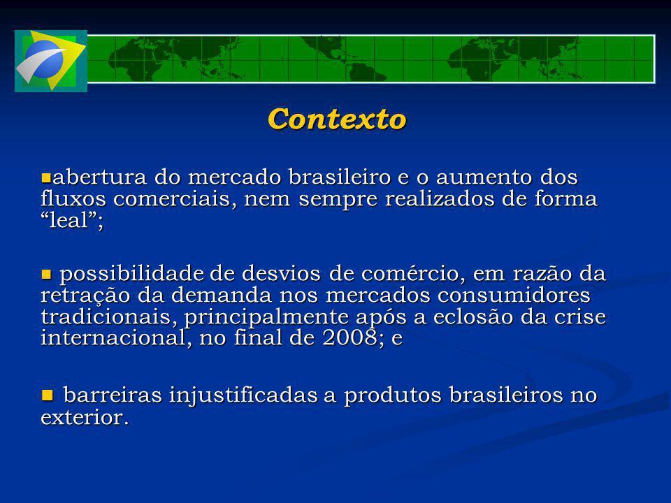 Contexto abertura do mercado brasileiro e o aumento dos fluxos comerciais, nem sempre realizados de forma leal; abertura do mercado brasileiro e o aum
