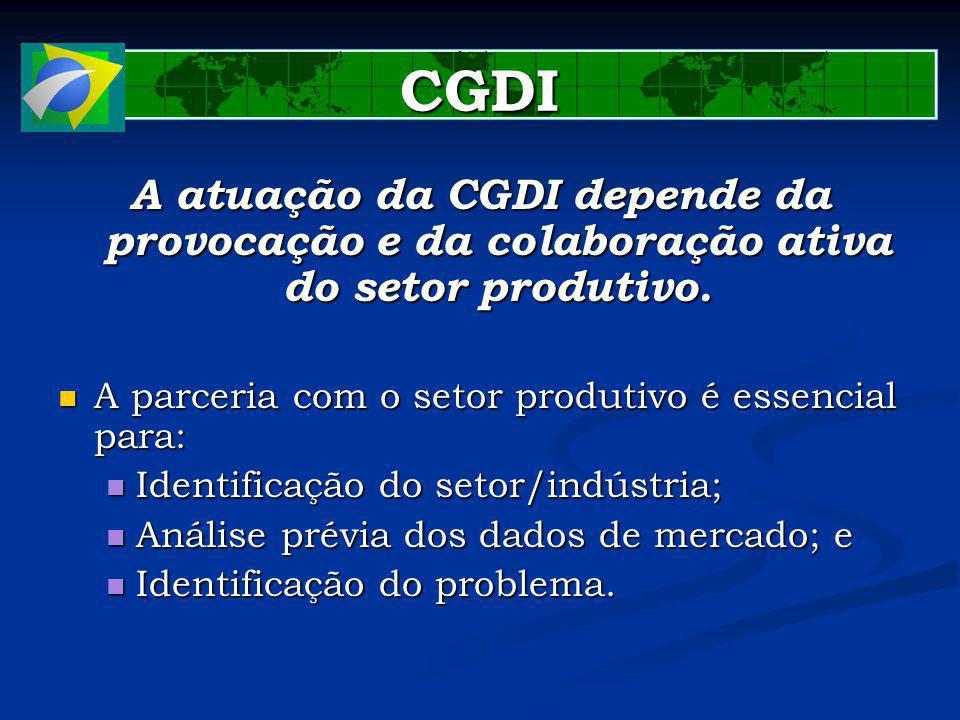 CGDI A atuação da CGDI depende da provocação e da colaboração ativa do setor produtivo. A parceria com o setor produtivo é essencial para: A parceria