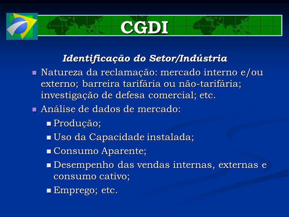 CGDI Identificação do Setor/Indústria Natureza da reclamação: mercado interno e/ou externo; barreira tarifária ou não-tarifária; investigação de defesa comercial; etc.