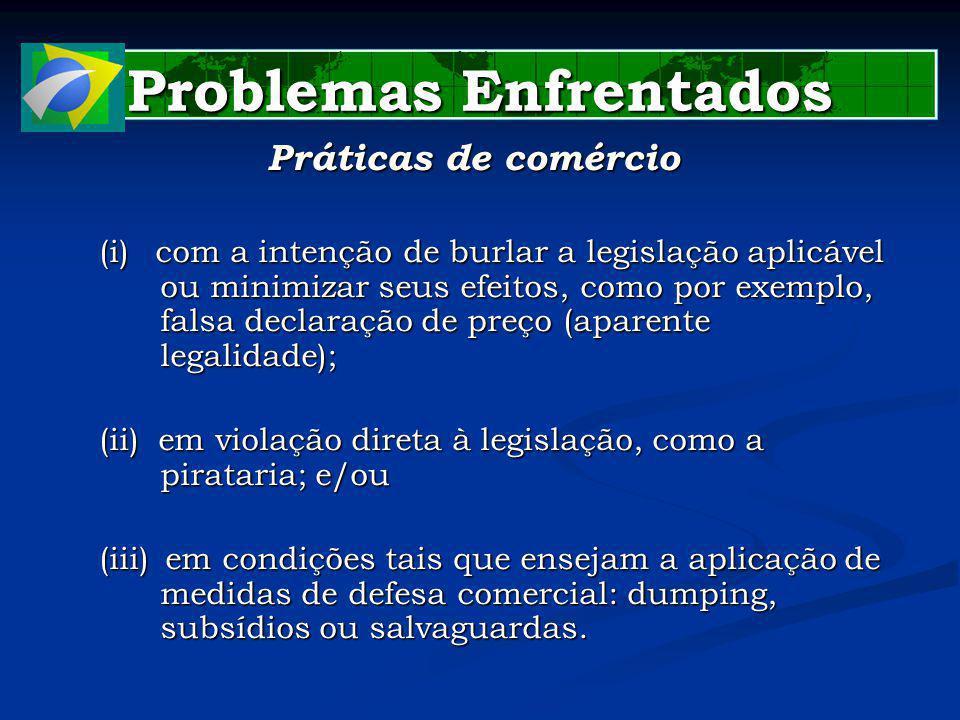 Problemas Enfrentados Práticas de comércio (i)com a intenção de burlar a legislação aplicável ou minimizar seus efeitos, como por exemplo, falsa declaração de preço (aparente legalidade); (ii) em violação direta à legislação, como a pirataria; e/ou (iii) em condições tais que ensejam a aplicação de medidas de defesa comercial: dumping, subsídios ou salvaguardas.