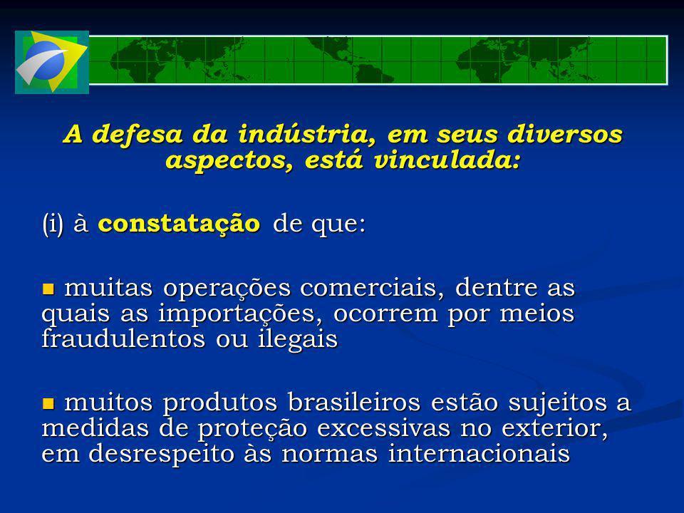 A defesa da indústria, em seus diversos aspectos, está vinculada: (i) à constatação de que: muitas operações comerciais, dentre as quais as importações, ocorrem por meios fraudulentos ou ilegais muitas operações comerciais, dentre as quais as importações, ocorrem por meios fraudulentos ou ilegais muitos produtos brasileiros estão sujeitos a medidas de proteção excessivas no exterior, em desrespeito às normas internacionais muitos produtos brasileiros estão sujeitos a medidas de proteção excessivas no exterior, em desrespeito às normas internacionais